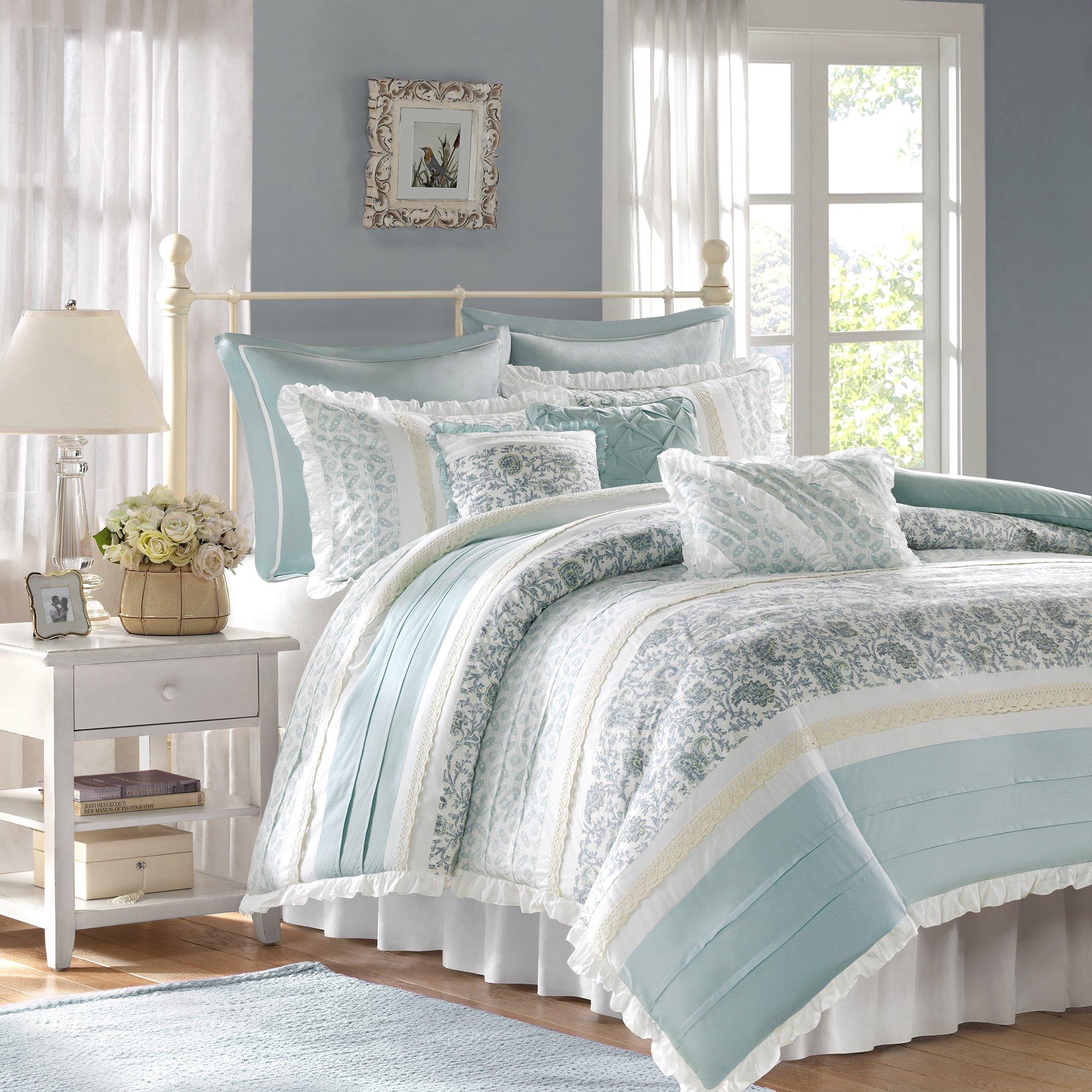 Madison Park - Dawn 9 Piece Cotton Percale Cotton Duvet Cover Set - Blue - Queen - Pieced Pattern - Includes 1 Duvet Cover, 2 Shams, 3 Decorative Pillows,2 Euro Shams,1 Bed Skirt