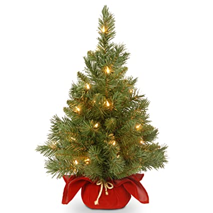 national tree 24 inch majestic fir christmas tree with 35 clear lights in burgundy cloth bag - Christmas Tree Com