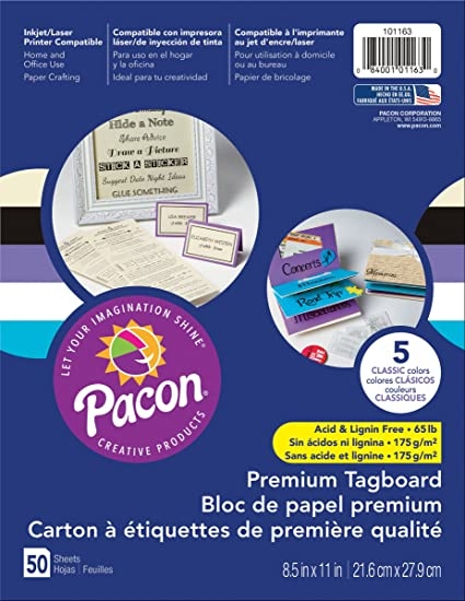 Pacon Premium Tagboard Paper, 50-Count, Classic Assorted, 5 Colors (101163