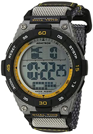 Buy armitron sport mens 408330gry yellow accented digital armitron sport mens 408330gry yellow accented digital chronograph grey nylon strap watch fandeluxe Gallery