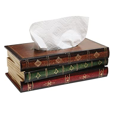 Antique Book Design Wood Bathroom Facial Tissue Dispenser Box Cover / Novelty Napkin Holder - MyGift