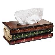MyGift Antique Book Design Wood Bathroom Facial Tissue Dispenser Box Cover/Novelty Napkin Holder