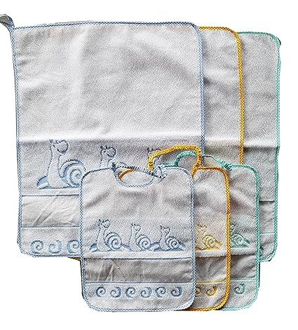 Juego 3 bavaglie + 3 Toallitas 100% algodón dibujo caracol color de niño ideal para