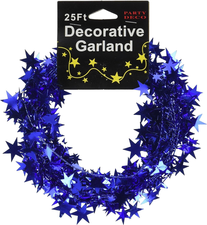 PARTY DECO Foil Star Garland 25 Fuchsia
