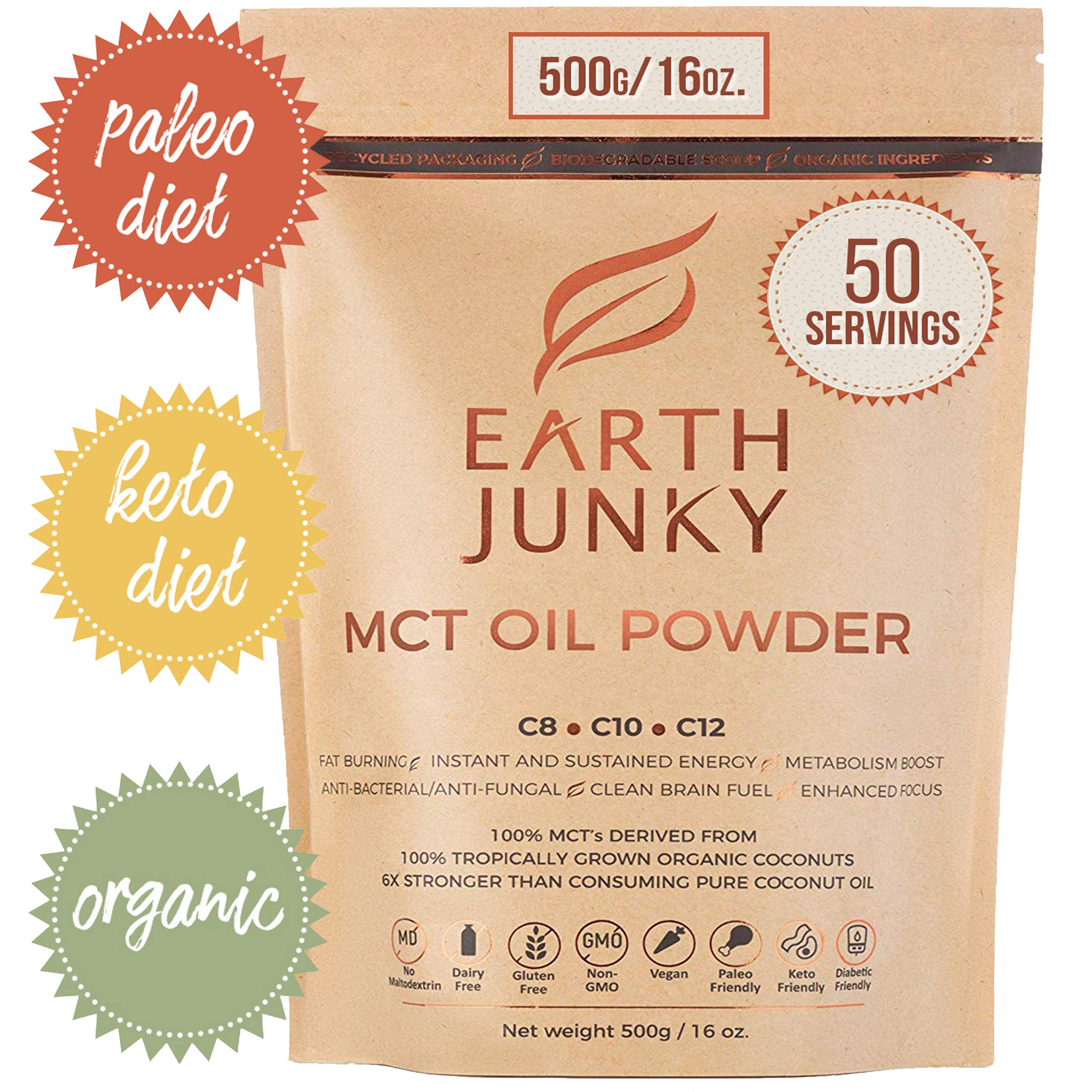 MCT Oil Powder - Keto Weight Loss for Keto Diet - 16oz. 50 Servings 100% Organic Brain Fuel and Instant Energy Boost - MCT Oil Powder for Coffee - Improved Digestion, C8, C10 and C12