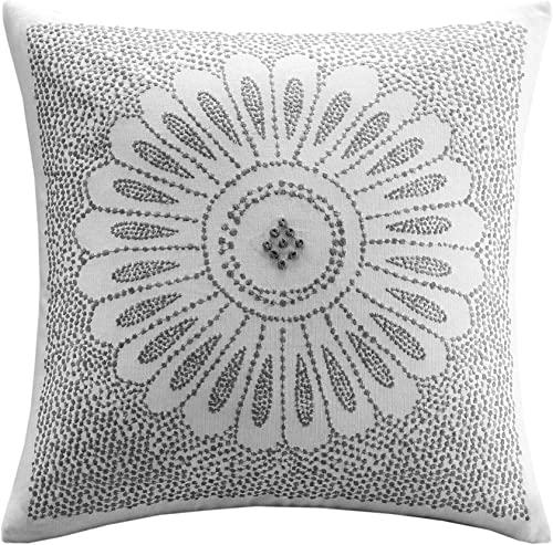 INK IVY Sofia Cotton Modern Accent Throw Pillow, asual Embroidered Square Fashion Decorative Pillow, 20X20, Grey