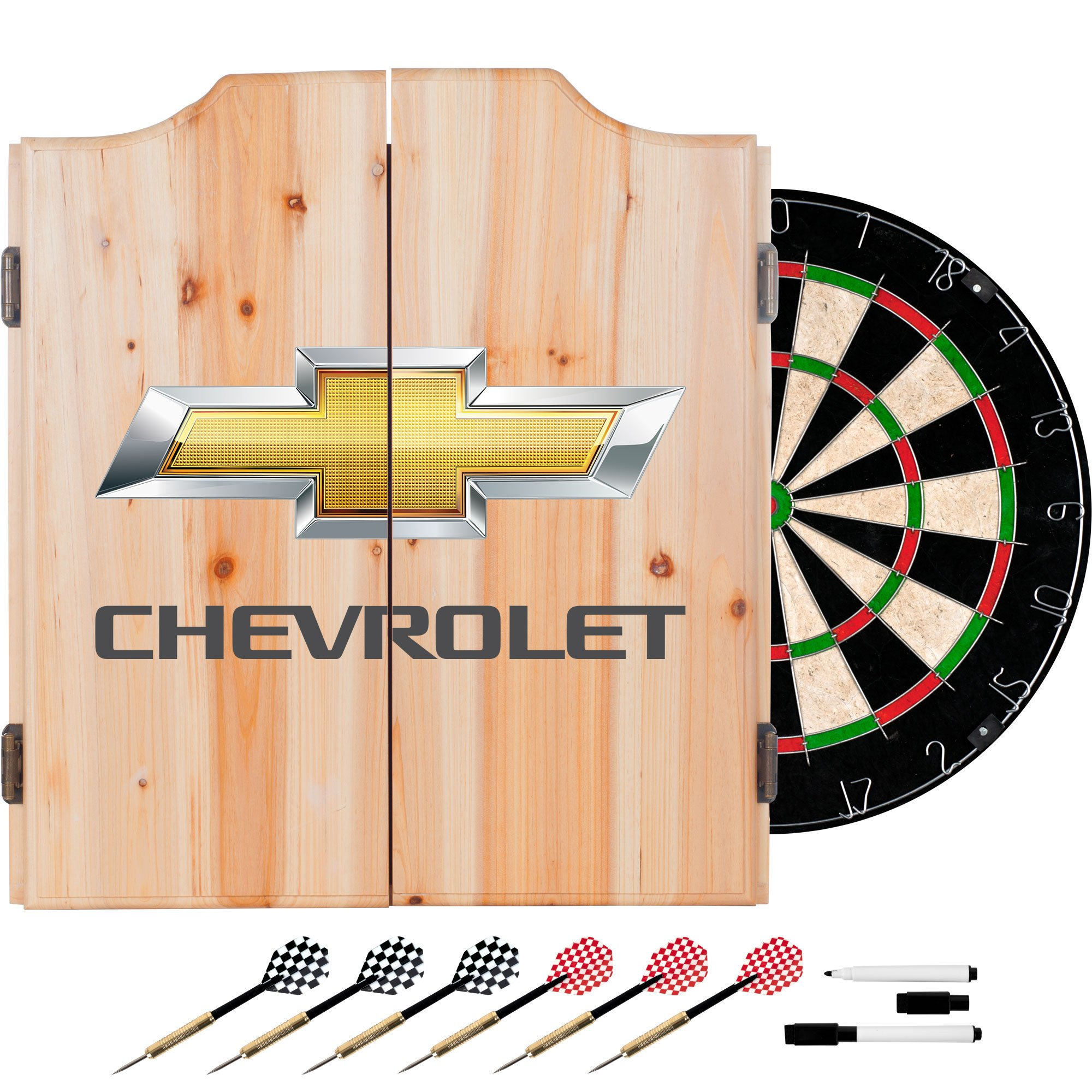 Trademark Gameroom Chevrolet Dart Board Set with Cabinet