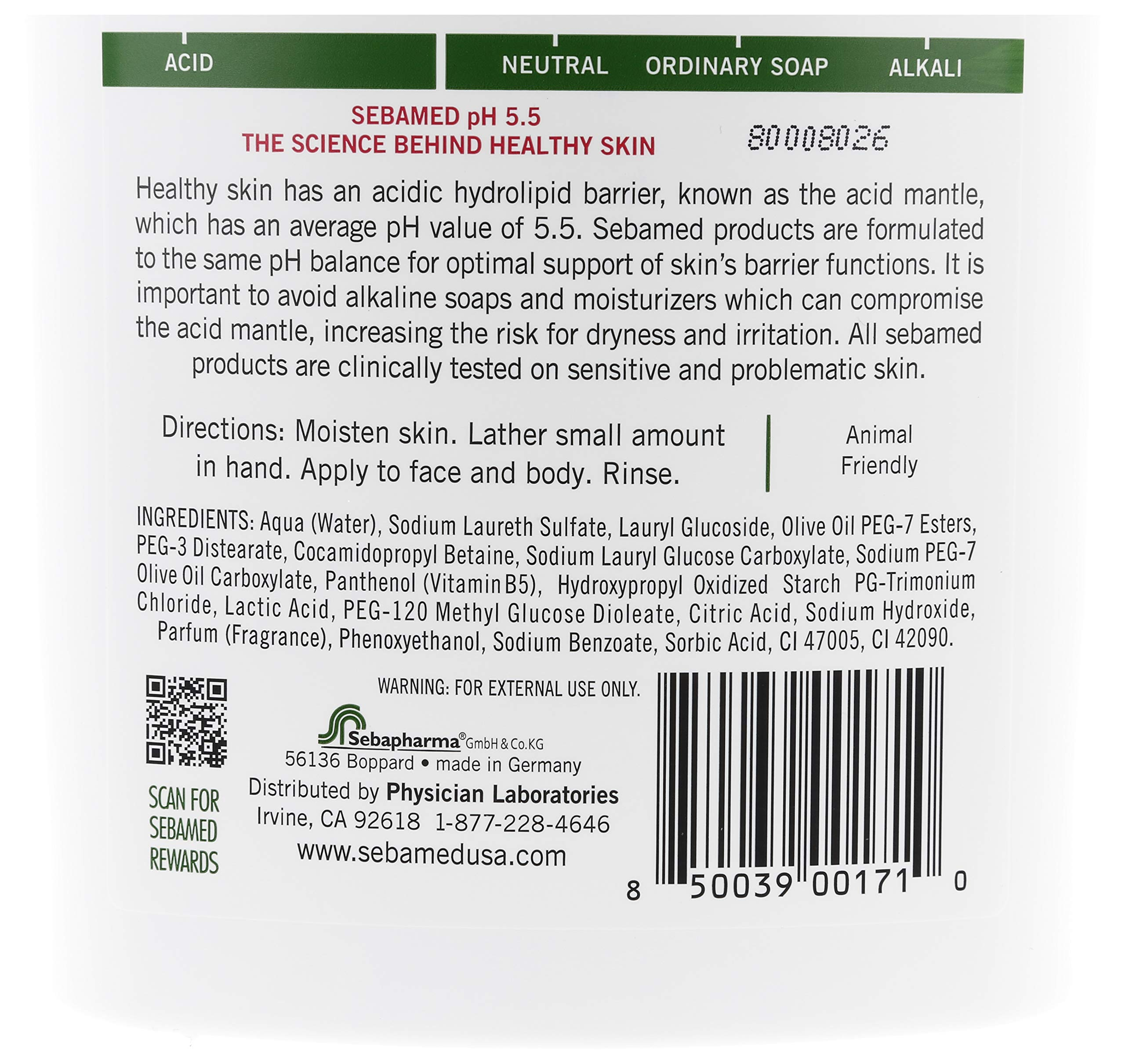 Sebamed Olive Face and Body Wash With Pump for Sensitive and Delicate Skin pH 5.5 Ultra Mild Hydrating Dermatologist Recommended Cleanser 33.8 Fluid Ounces (1 Liter) Pack of 2