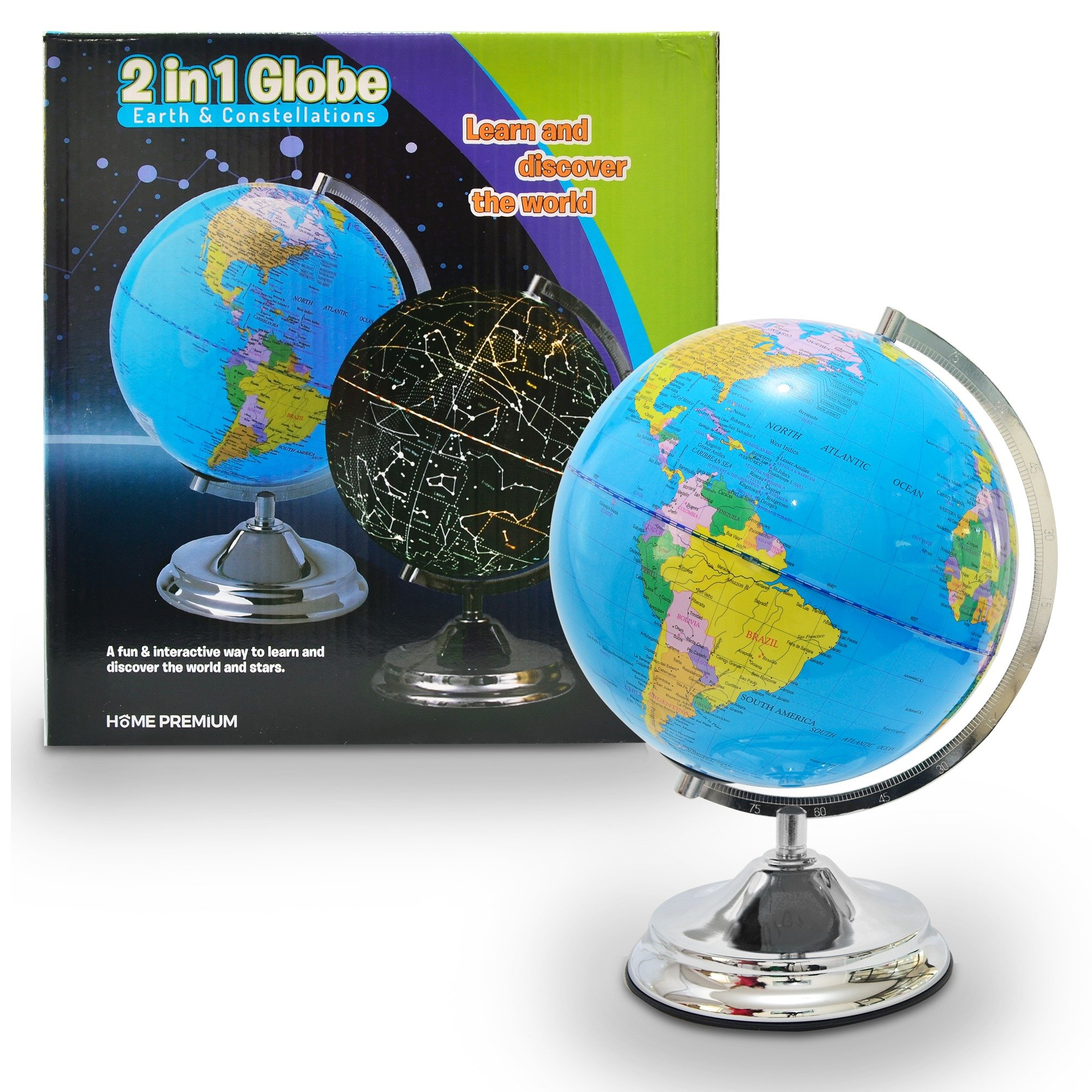 Best rated in geographic globes helpful customer reviews amazon 3 in 1 illuminated world globe for kids led night light 10 constellation globe with detailed world map and stand highly educational gift gumiabroncs Image collections