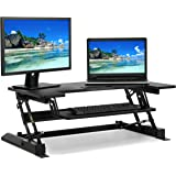 Best Choice Products 36in 2-Tier Standing Tabletop Desk Workstation w/ 8 Adjustable Height Settings, Monitor Riser, 33lb Capacity Tabletop, 4.4lb Capacity Keyboard Drawer - Black