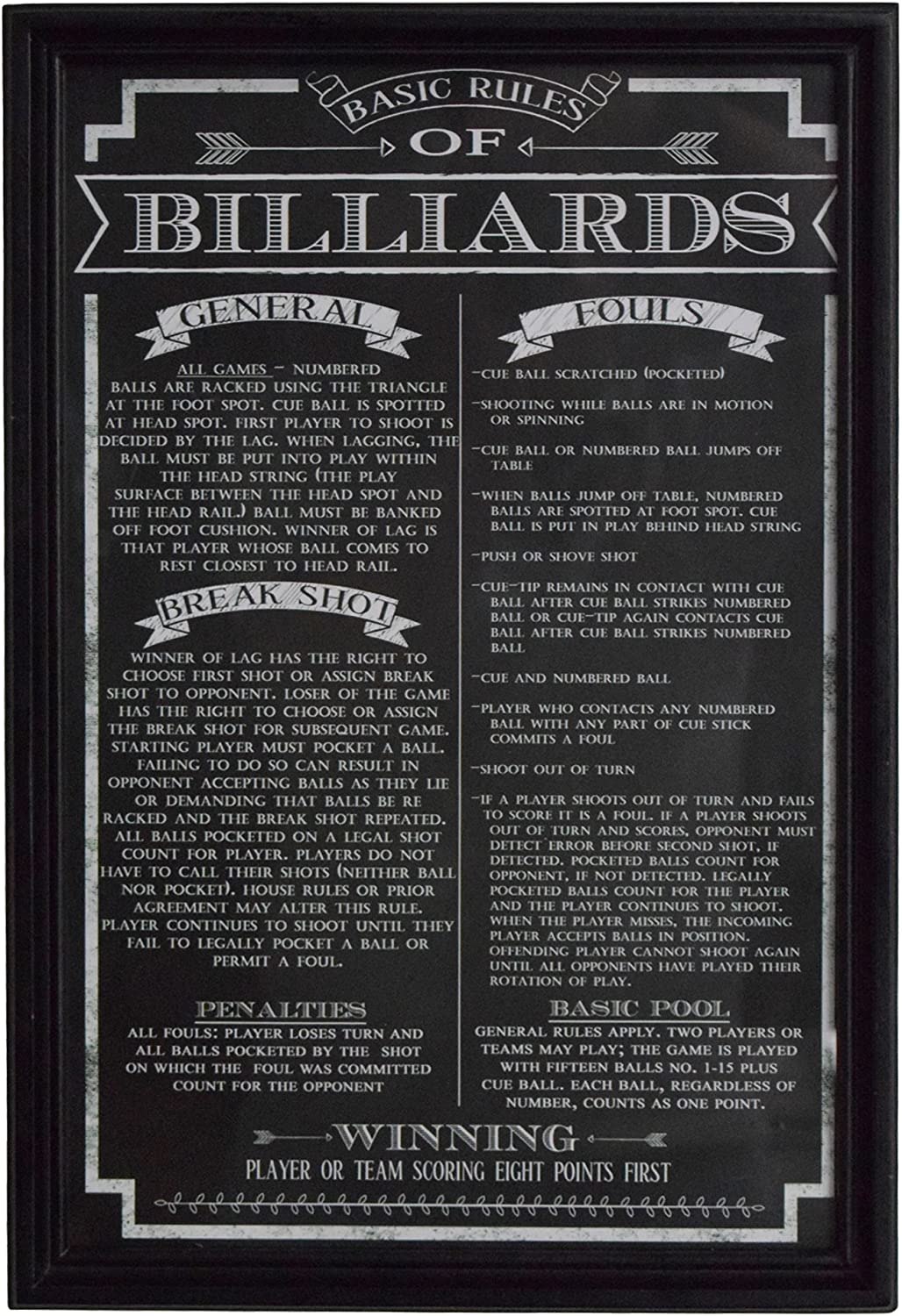 Hathaway Billiard Game Rules Wall Art