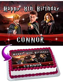 Harry Potter Edible Cake Topper Personalized Birthday 1 4 Sheet Decoration Custom Party