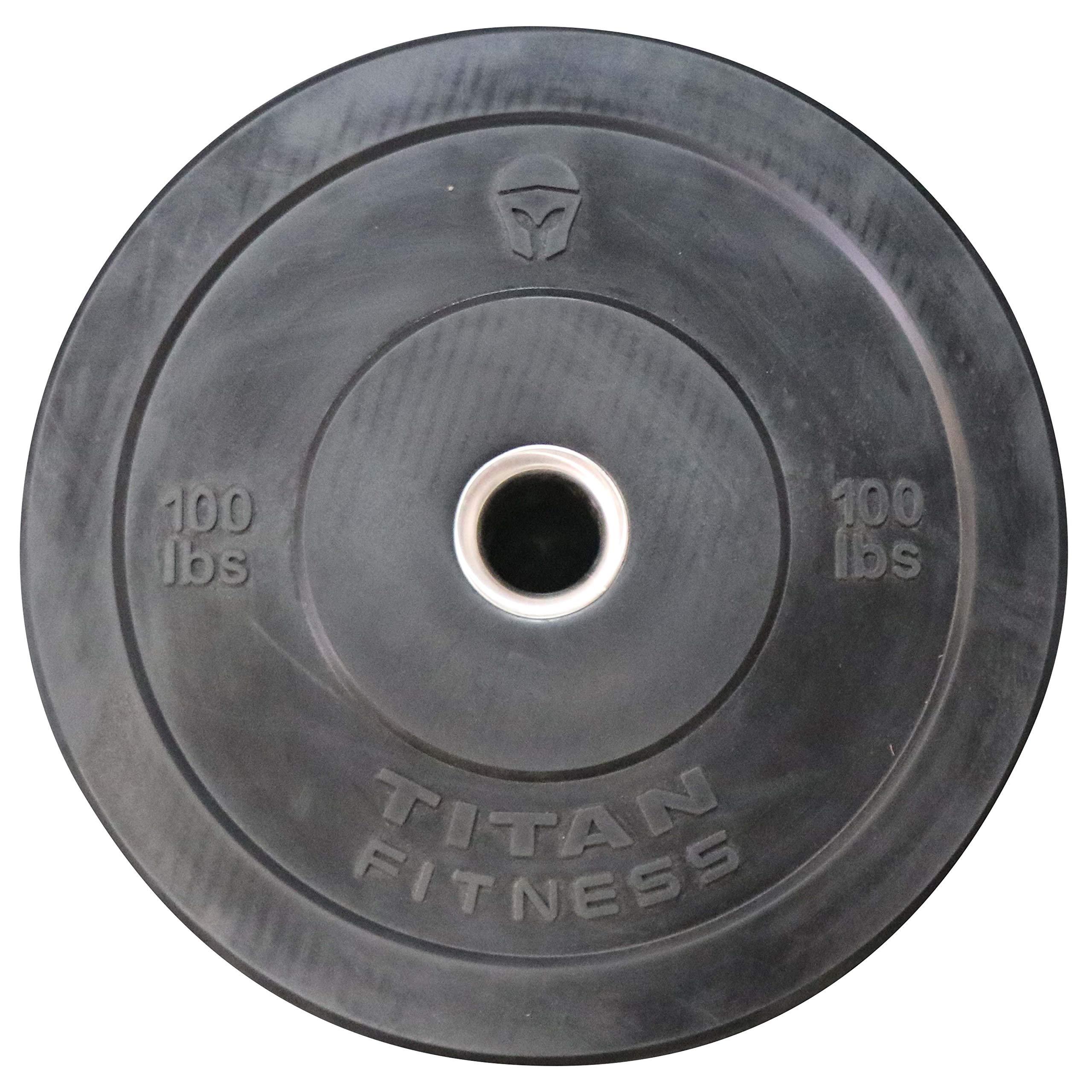 Titan Olympic Rubber Bumper Plate | Black | 100 LB | Single