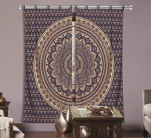 Indian Mandala Curtain Balcony Sheer Room Divider Living Room Bohemian Decor Room Darkening Blackout Gypsy Door Curtain (Blue & Gold)