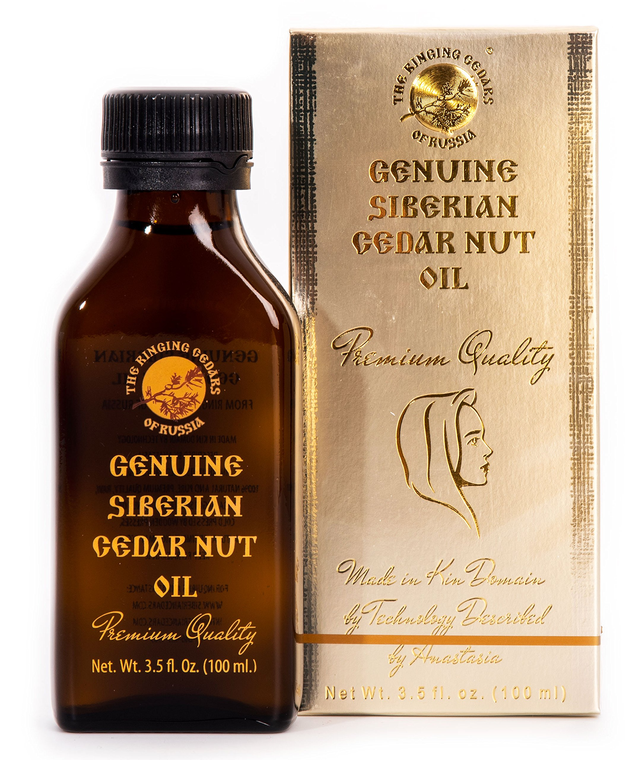 PREMIUM Siberian Cedar Nut Oil - 3,5oz/100ml. GENUINE Ringing Cedars of Russia Kin Domain's Gold Collection. Made in Kin Domain ''Sunny Meadow'', Siberia, Russia. Pine nut oil by RINGING CEDARS OF RUSSIA