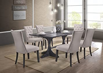 Amazon Com Best Quality Furniture Modern Light Gray Linen Look 7 Piece Upholstered Dining Set Table Chair Sets