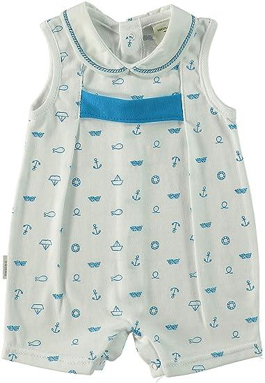 BABIDU 17235 Pelele Tiranteuello Bordado Anclas, Unisex bebé, Azul (Celeste 001),
