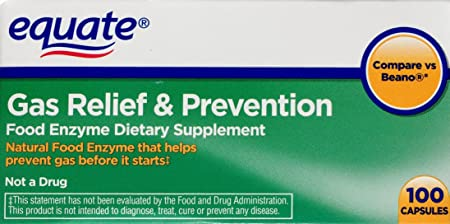 Equate Gas Relief & Prevention Food Enzyme Dietary Supplement, 100ct, Compare to Beano