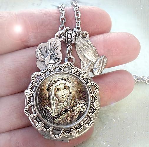 9a2eb3332ea Amazon.com: St. Catherine of Siena Locket Necklace, Italian Charms ...