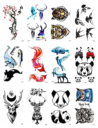 12 hojas tigre panda fox deer animales temporales tatuaje tribal ...