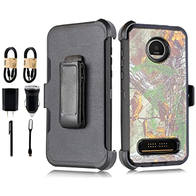 Case for Moto Z4 Play Heavy Duty Full-Body Rugged Holster Armor Case with Built-in Screen Protector, Belt-Clip, Kickstand for Motorola Z4 Play [Accessory Pack] (Camo)