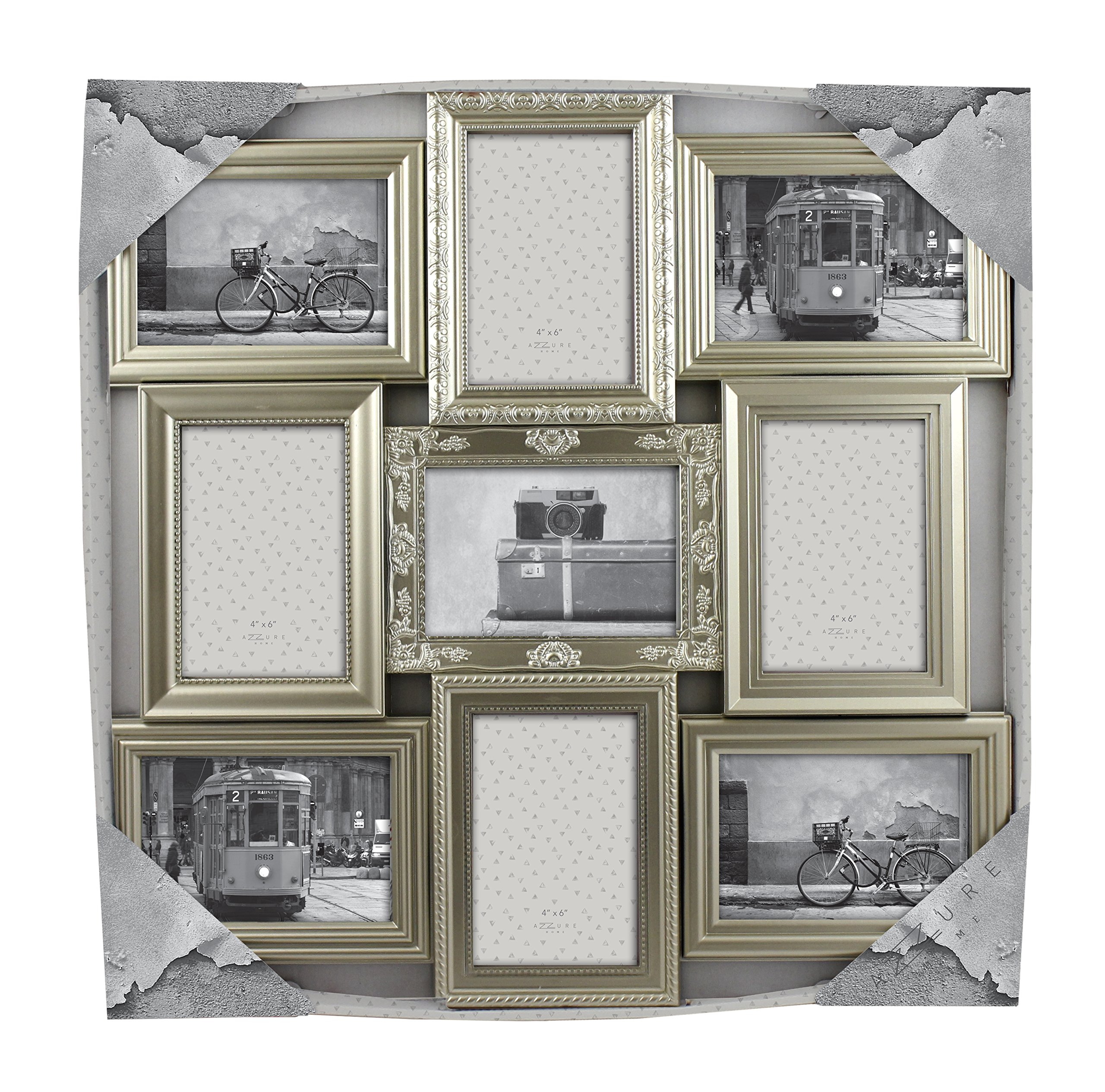 "Azzure Home Victorian"" 9 Openings Decorative Wall Hanging Collage Picture Frame - Made to Display Four 6x4 and Five 4x6 Photos, Champagne"