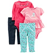 Simple Joys by Carter's Baby Girls' 4-Piece Bodysuit and Pant Set, Blue Floral/Pink Dot, 3-6 Months