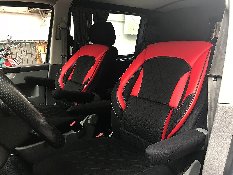 seatcovers by k-maniac Sitzbez/üge T5 T6 Multivan California Kombi Caravelle Transporter Kasten Fahrersitz Beifahrersitz Armlehnen Design T39 schwarz-rot