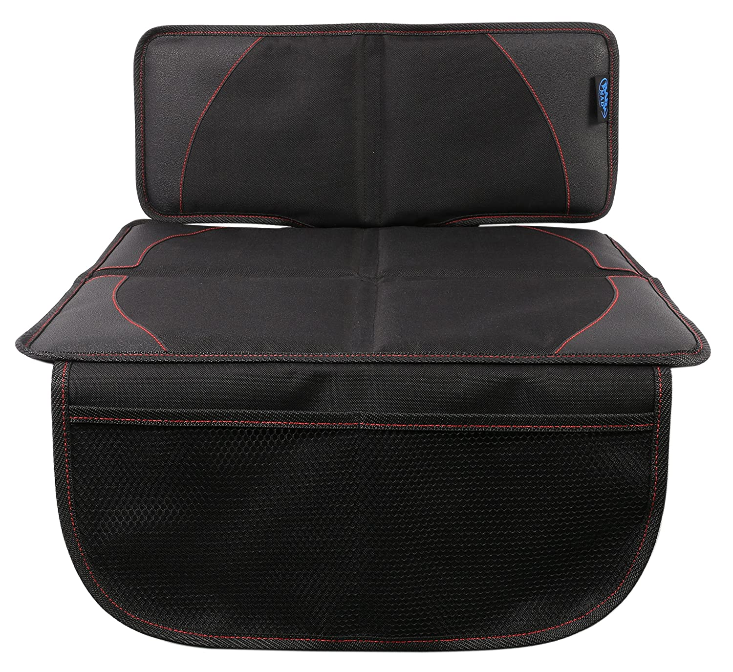 Low Car Seat Protector/Heavy Duty Protects Upholstery with Padded Cover/Organiser Pockets/Universal Size/Ideal for Baby & Toddler car Seats/Anti-Slip/ISOFIX Compatible - BabyMad® BM_CSP_HALF