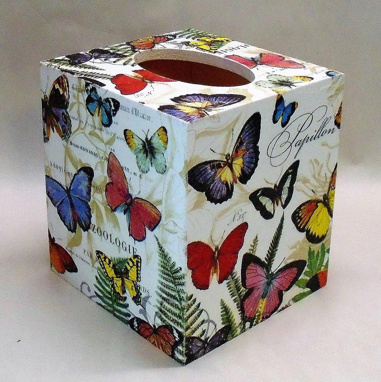 Handmade Decoupage Wood Tissue Box Cover, Butterflies