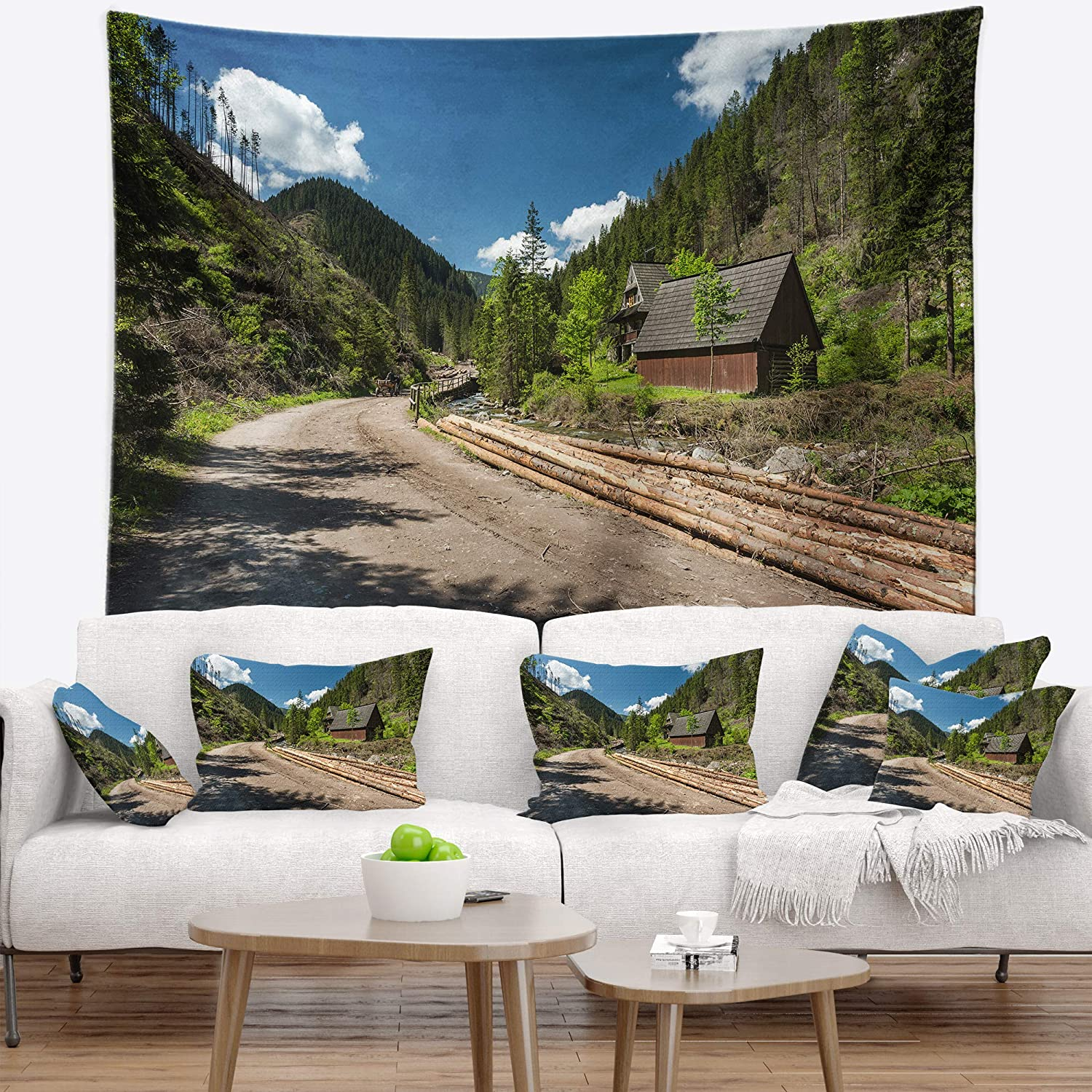 in x 68 in Designart TAP9871-80-68  Road in Chocholowska Valley Landscape Blanket D/écor Art for Home and Office Wall Tapestry x Large 80 in