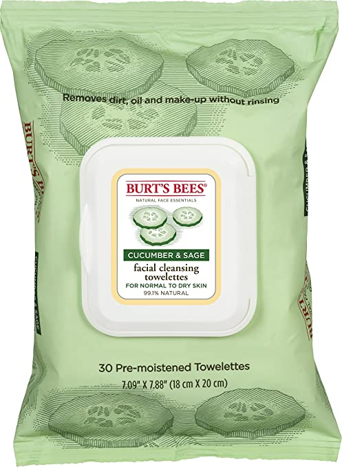 Burt's Bees Facial Cleansing Towelettes, Cucumber and Sage, 30 Count (Pack of 3)