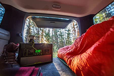 A Goal Zero Yeti 1000 Lithium Portable Power Station in the back of a car