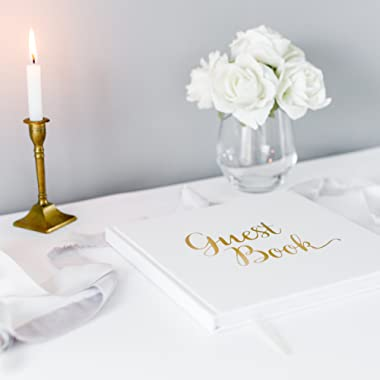 Wedding Guest Book Gold Guestbook - Blank NO Lines - Memory Signature Message Book - Christening Birthday Engagement Party - White Paper Ribbon & Foil Stamping - Thick Paper 32 Page/64 Side Square
