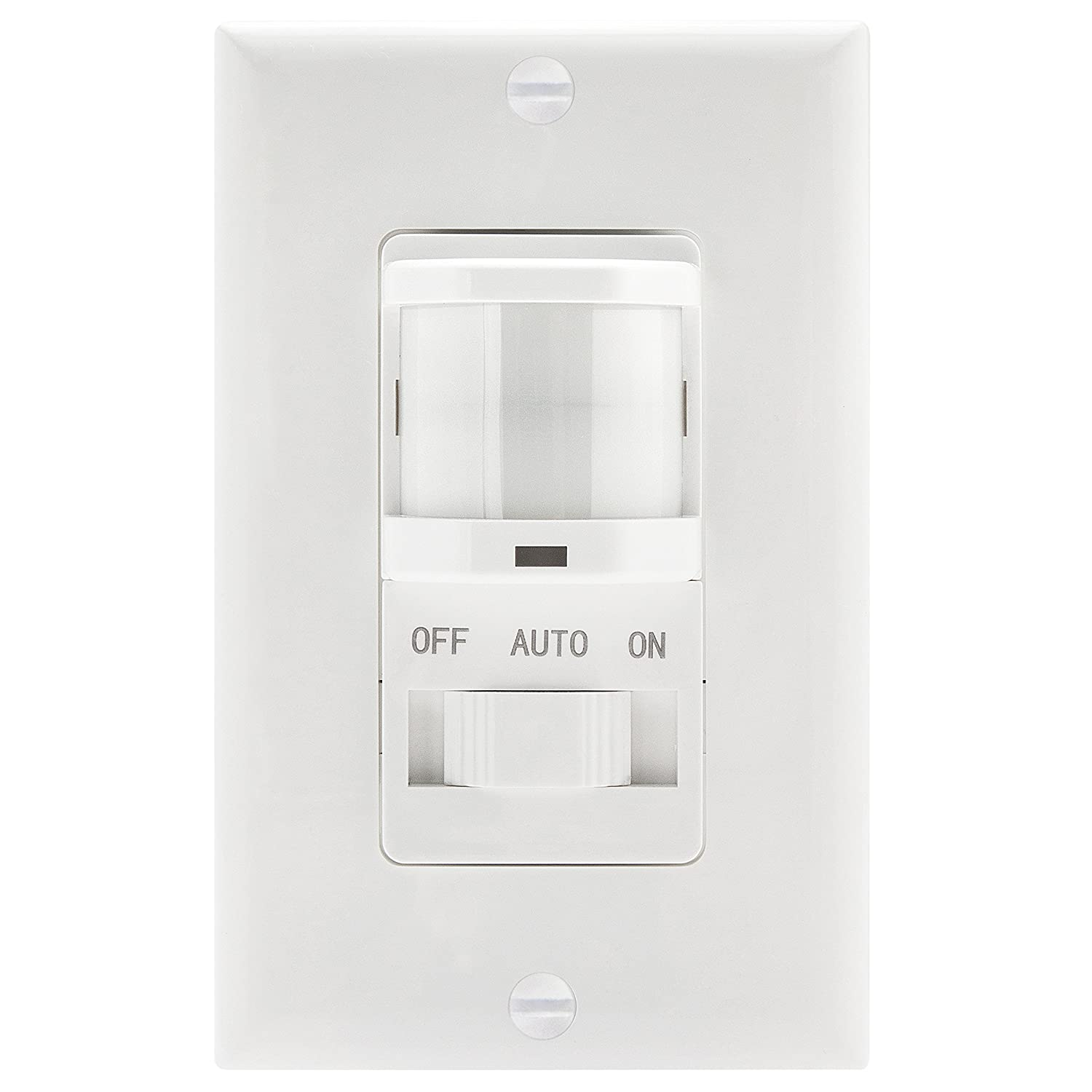 Topgreener Tsos5 White In Wall Pir Motion Sensor Light Switch Wiring Three Black Wires Occupancy On Off Override Single Pole Fluorescent 500va Motor