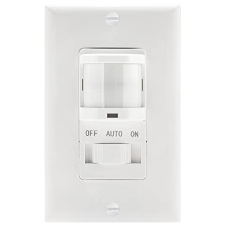 TOPGREENER TSOS5-White in Wall PIR Motion Sensor Light Switch, Occupancy Sensor Switch, On Off Override, Single-Pole, Fluorescent 500VA Motor 1 8Hp Incandescent 500W, Neutral Wire Required, White