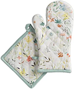 Maison d' Hermine Colmar 100% Cotton Set of Oven Mitt (7.5 Inch by 13 Inch) and Pot Holder (8 Inch by 8 Inch)