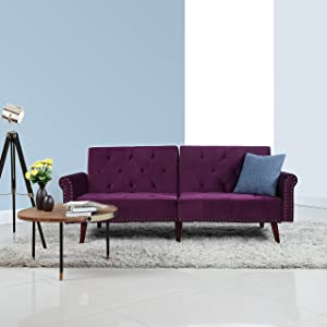 Divano Roma Furniture Modern Tufted Velvet Splitback Recliner Sleeper Futon Sofa with Nailhead Trim (Purple), Small