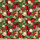 Ambesonne Christmas Fabric by The Yard, Tree Branches Spruce Leaves Balls Bells Cones Poinsettia Flowers Mistletoe Berry, Decorative Fabric for Upholstery and Home Accents, 2 Yards, Multicolor