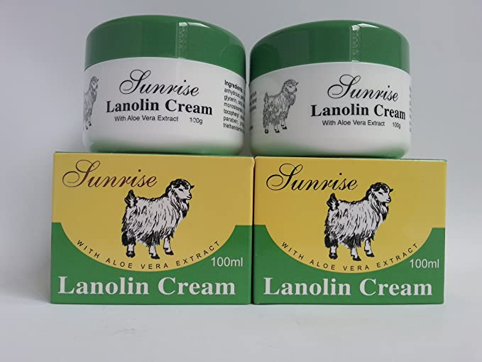 2xSunrise Lanolin Cream With Aloe Vera Extract 100ml Made in Australia