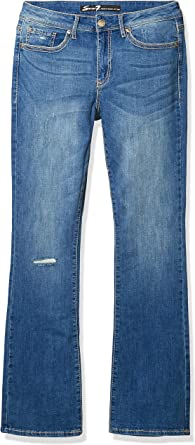 7 For All Mankind Womens Mid Rise Rocker Slim Boot with Embroidered Flap Pocket Jeans