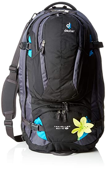 72002ddd8e7bd Deuter Damen Trekkingrucksack Traveller 60 plus 10 SL Black-Turquoise