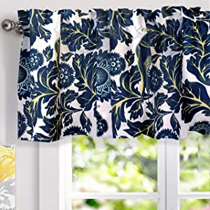 "DriftAway Bird Tree Floral Flower/Leaf Lined Thermal Insulated Energy Saving Window Curtain Valance for Living Room Bedroom Kitchen, 2 Layer, Rod Pocket, 52""x18""+2""Header (Navy)"