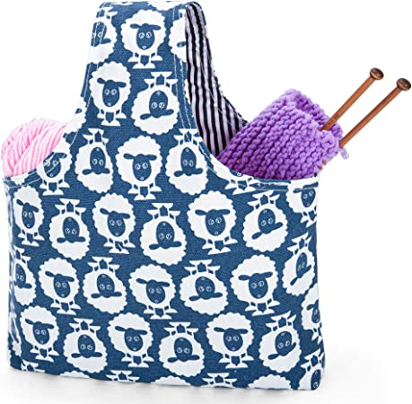Knitting Project Bag Quilted Round Bottom Drawstring