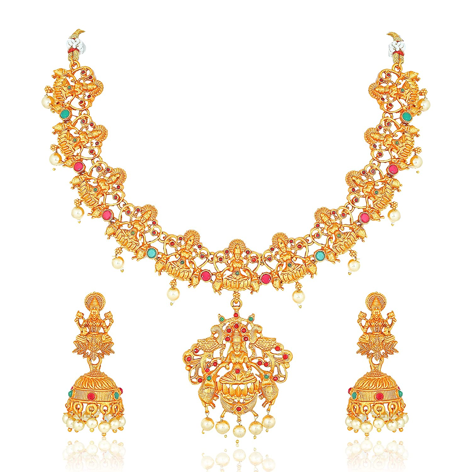 Jewelry & Watches Antique Oxidized Two Tone Necklace Set With Jhumka Earrings Temple Jewellery Jewelry Sets