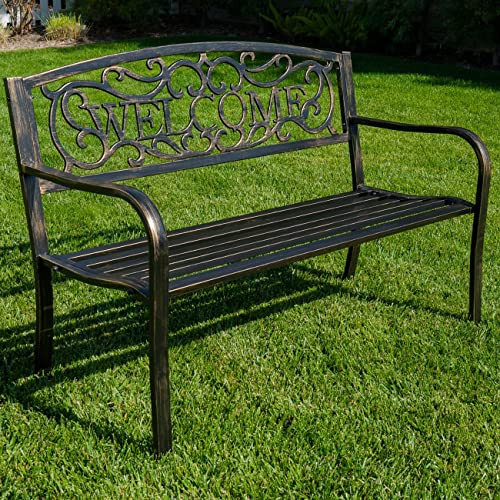 BELLEZE 50″ Blossoming Garden Decorative Patio Park Bench