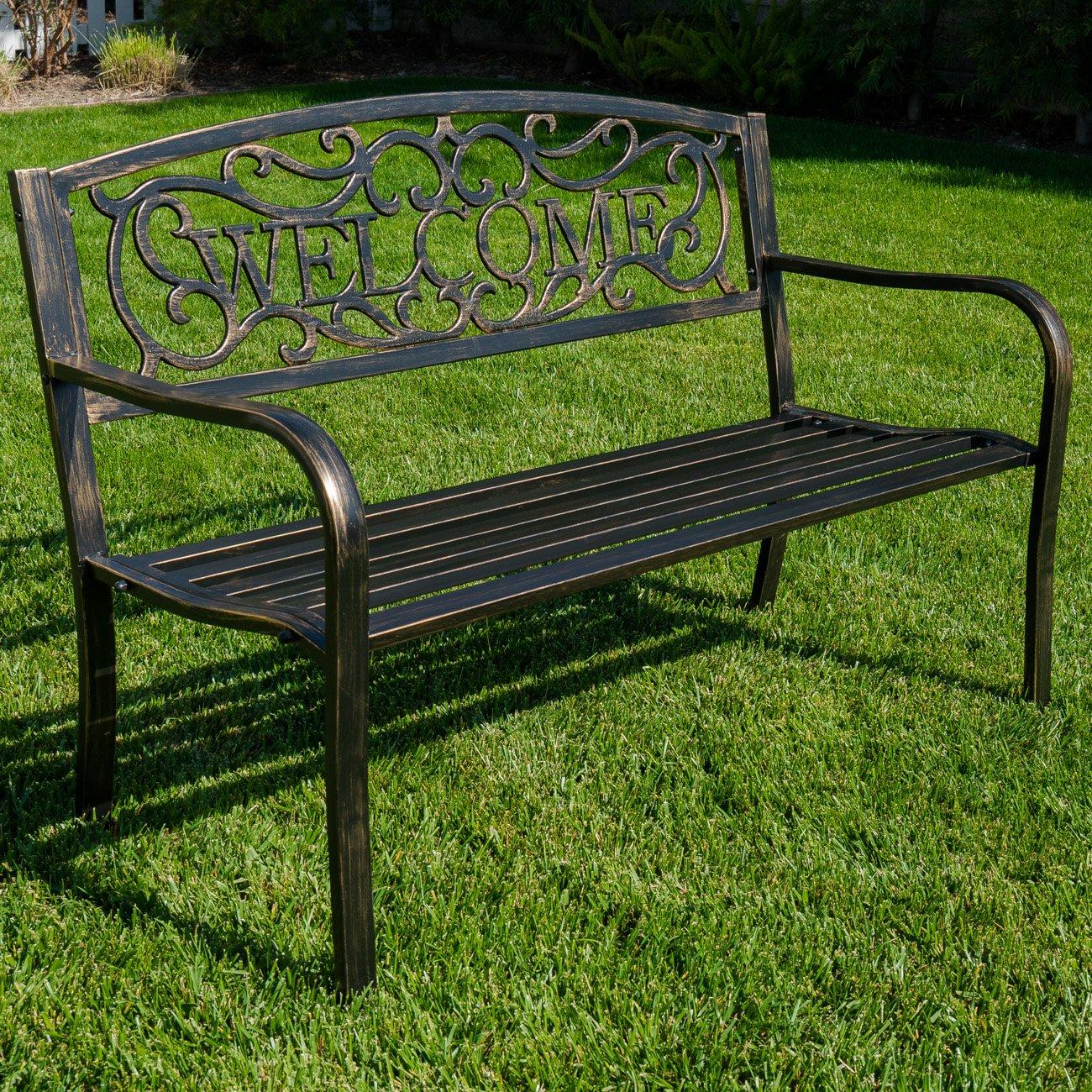 Belleze 50'' Blossoming Garden Decorative Patio Park Bench, Bronze