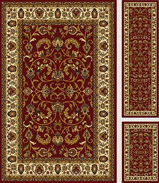 Home Dynamix Royalty 3 Piece Area Rug Set (Red / Ivory)
