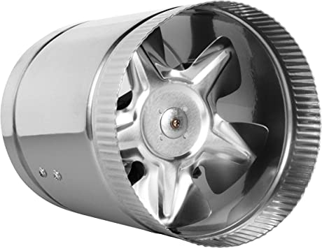 """TeraBloom 6"""" Inline Fan - 240 CFM, Metal Duct Fan, ETL Listed, Pre-Wired 6  FT Grounded Cord - Great For Grow Tent Exhaust and Intake, Register Booster  For 6 Inch Ducts - - Amazon.com"""