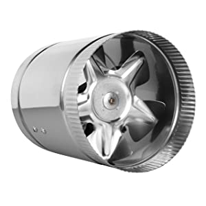 """6"""" Inline Fan - 240 CFM, Metal Duct Booster Fan, ETL Listed, Pre-Wired 6 FT Grounded Cord - Great for Grow Tent Exhaust and Intake, Register Booster for 6 Inch Ducts"""